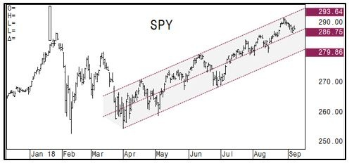 SPY 7 month trend chart